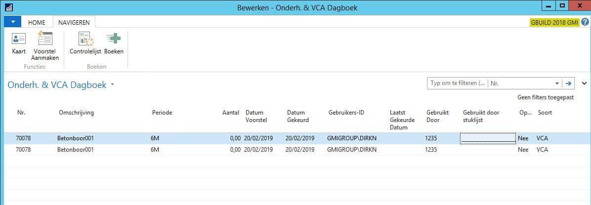 Onderhouds en VCA Dagboek